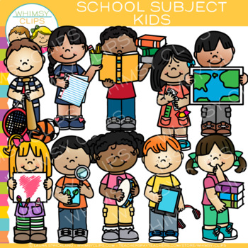 Kids School Subjects Clip Art by Whimsy Clips.
