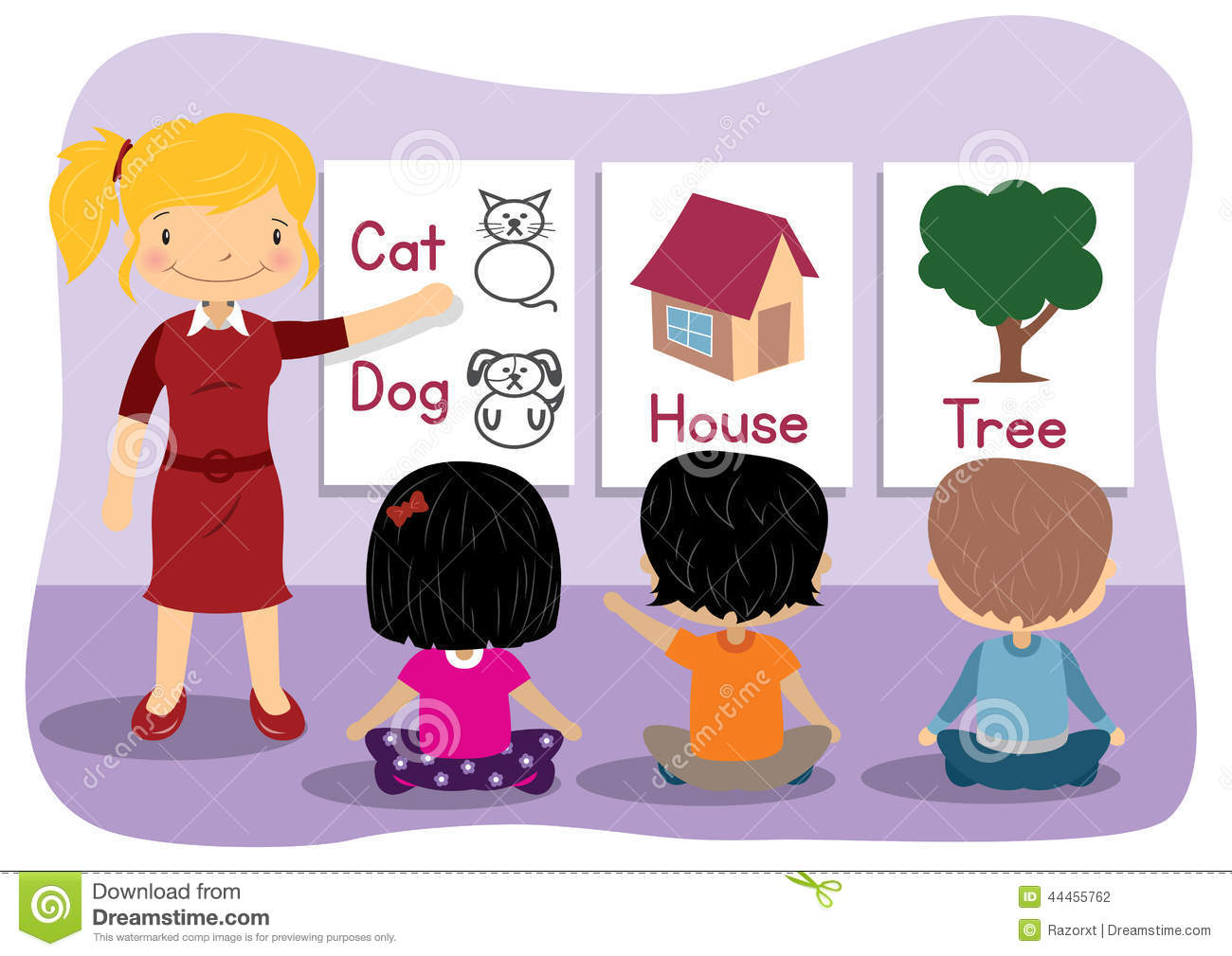 Teaching Words Stock Vector.