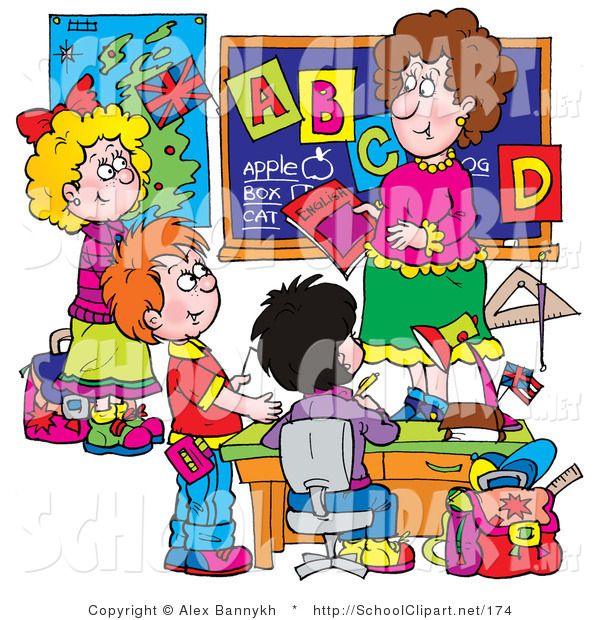 Clip Art of a Female School Teacher Teaching Students the Alphabet.