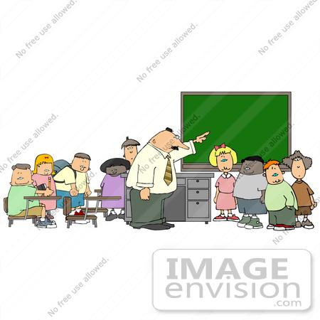 Elementary School Teacher Man Teaching His Students in a Classroom.