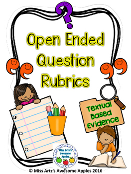 Open Ended Question Rubrics by Miss Artz\'s Awesome Apples.
