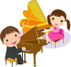 Piano teacher clipart.