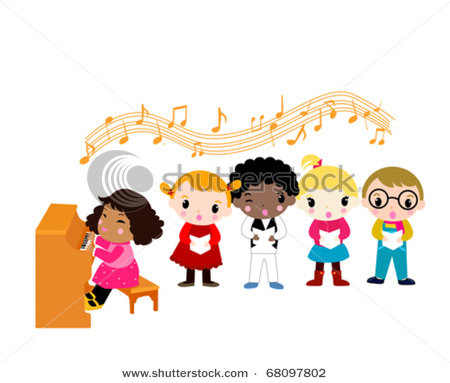 Girl Playing Piano and Kids Singing.