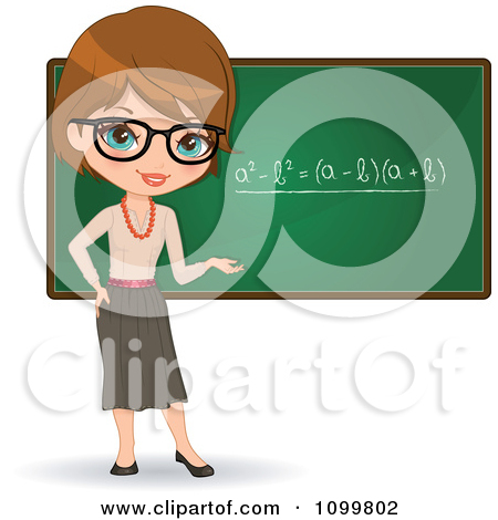 Clipart of a Female Math Teacher at a Desk with a Computer by a.