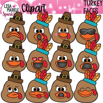 Turkey Clipart Thanksgiving with Emoji Faces.