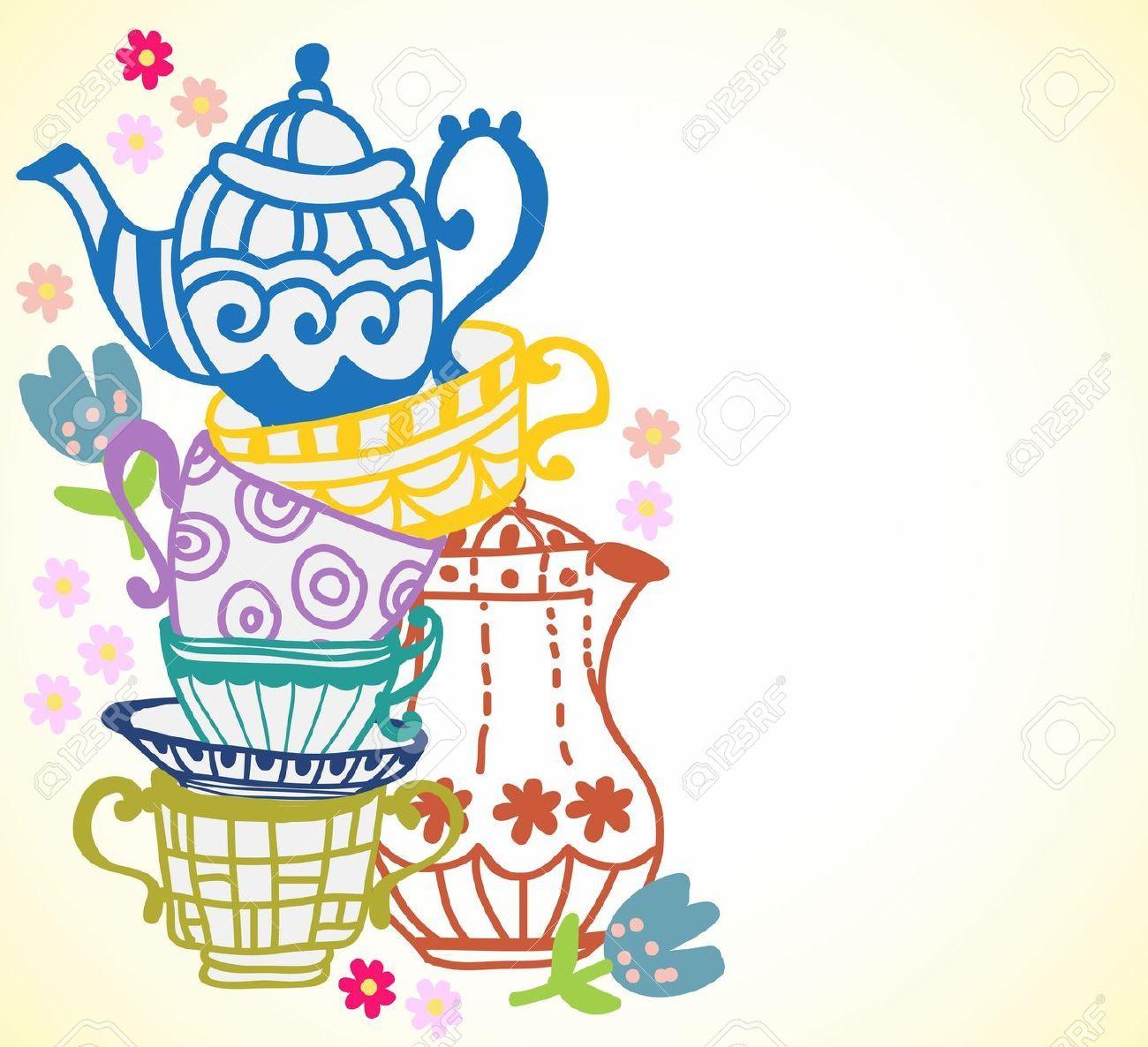 Teacups and teapot border.