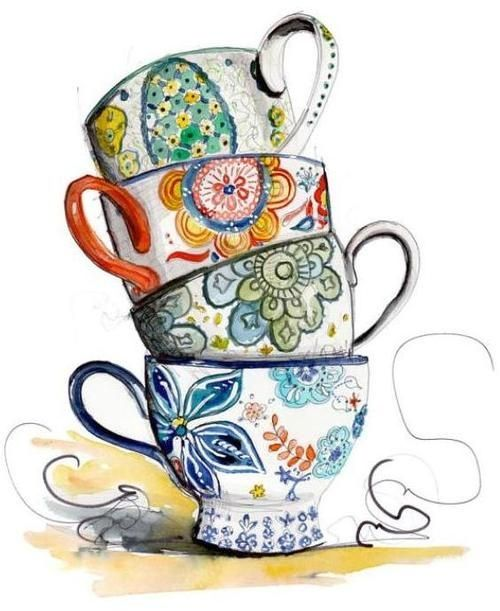 Tea Cup Border Clip Art.