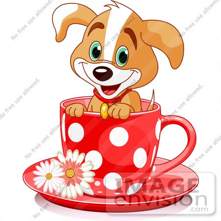 Clipart Illustration Of An Adorable Puppy Dog In A Red Polka.