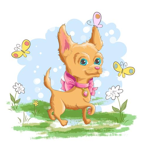 Illustration of a cute little dog with flowers and.
