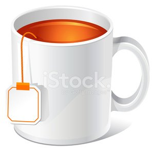 tea cup with teabag Clipart Image.