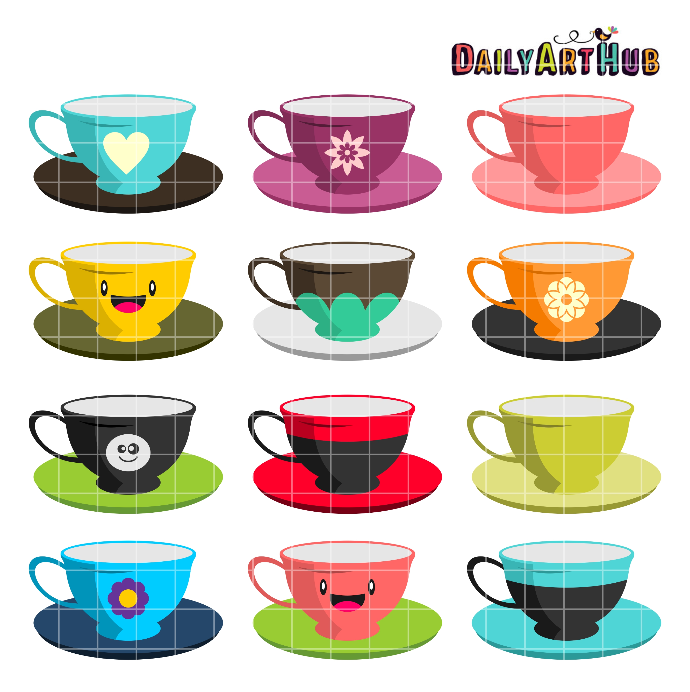 Tea Cups Clip Art Set.