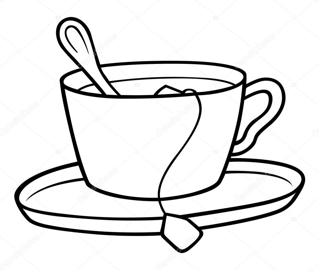 Teacup tea cup clipart black and white.