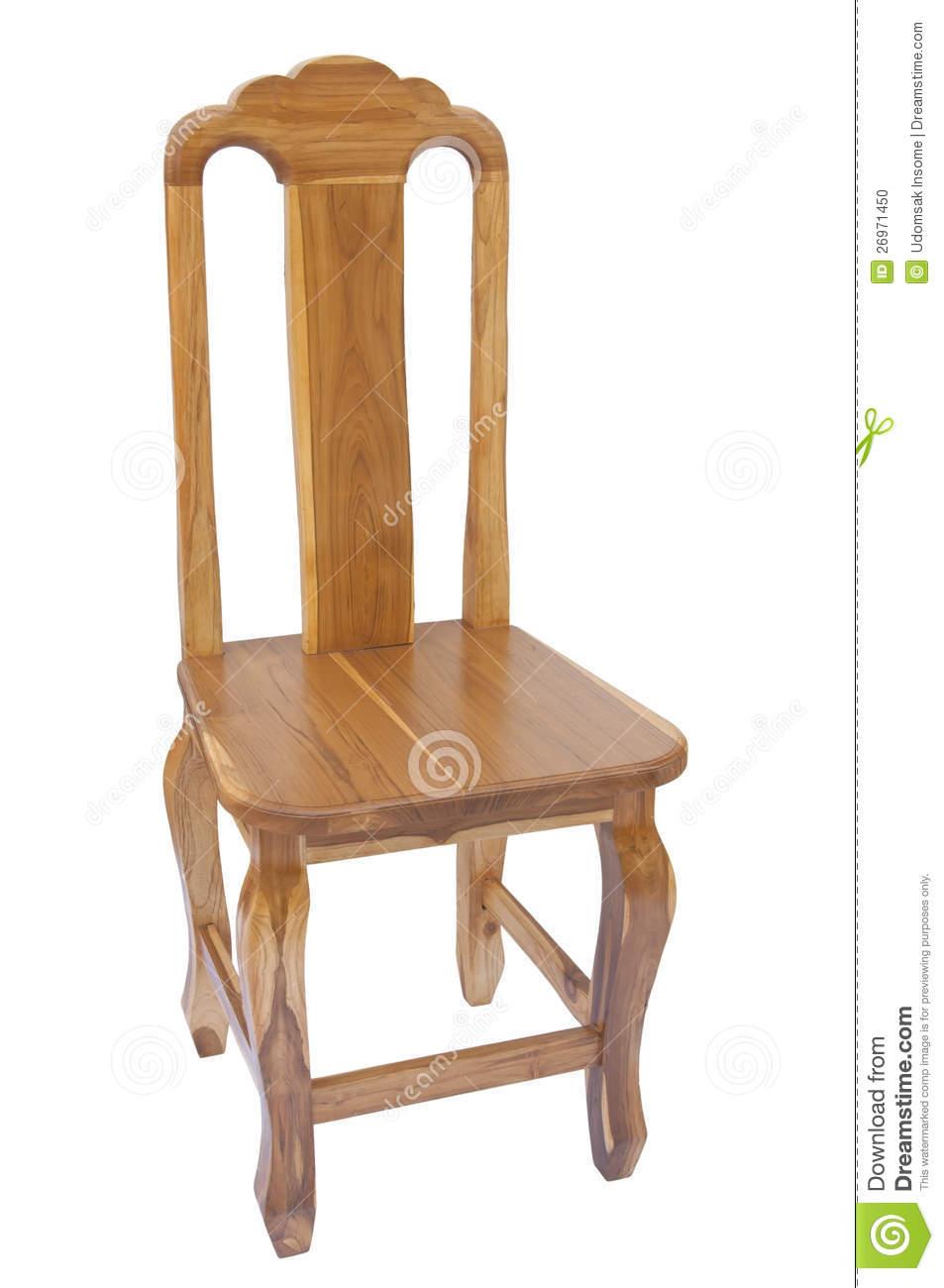 Teak Wooden Chair Stock Photo.