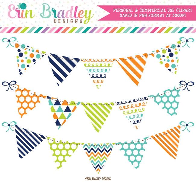 Navy Blue Green and Orange Banner Flag Bunting Clipart.