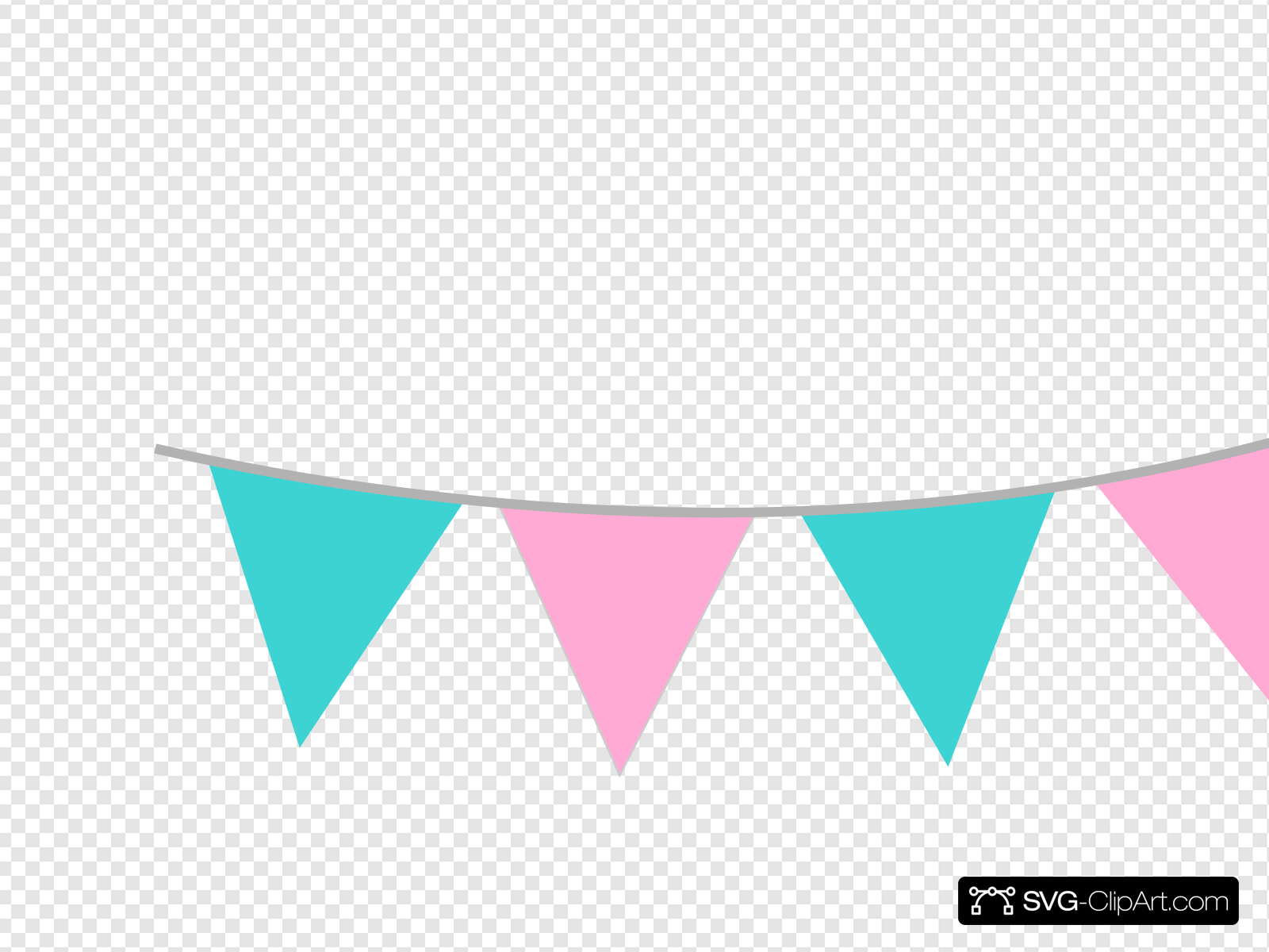 Pink Teal Bunting Clip art, Icon and SVG.