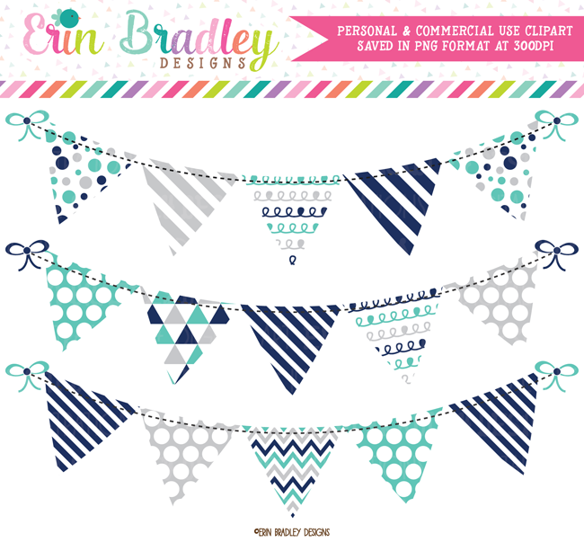 Navy Blue Turquoise Gray Bunting Clipart.