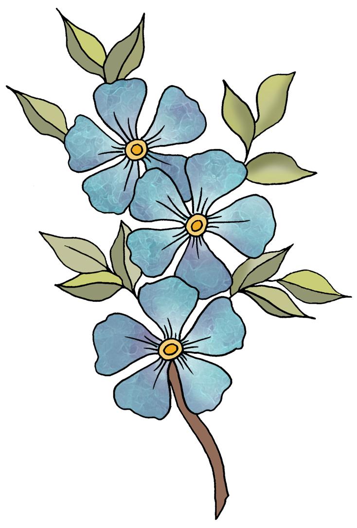Flowers For Blue Flowers Clip Art.