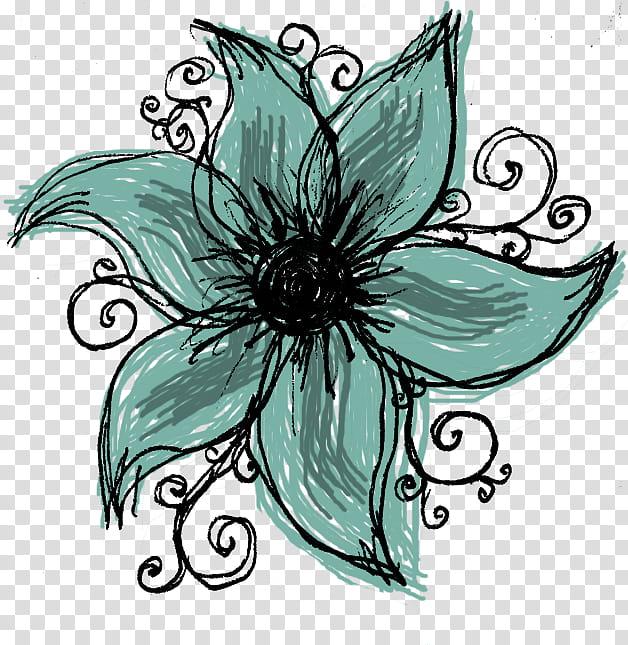 Wonderful Days Scrapkit, green flower illustration.