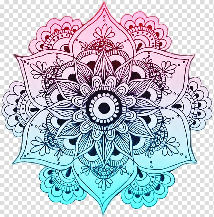 Pink, teal, and black mandala flower art, Mandala Designs.