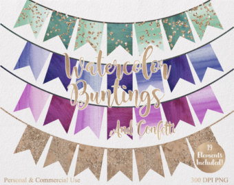WATERCOLOR BUNTING BANNERS Clipart Commercial Use Clipart 19.