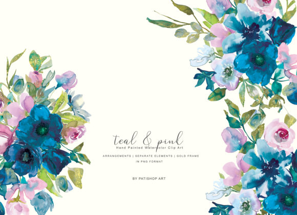 Watercolor Teal & Pink Flowers Clipart.