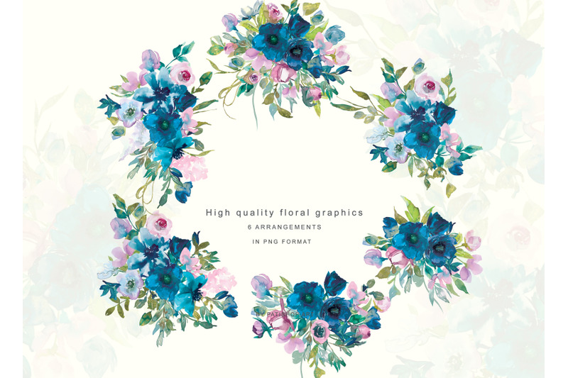 Watercolor Teal, Blue and Pink Floral Bouquet Clipart By.