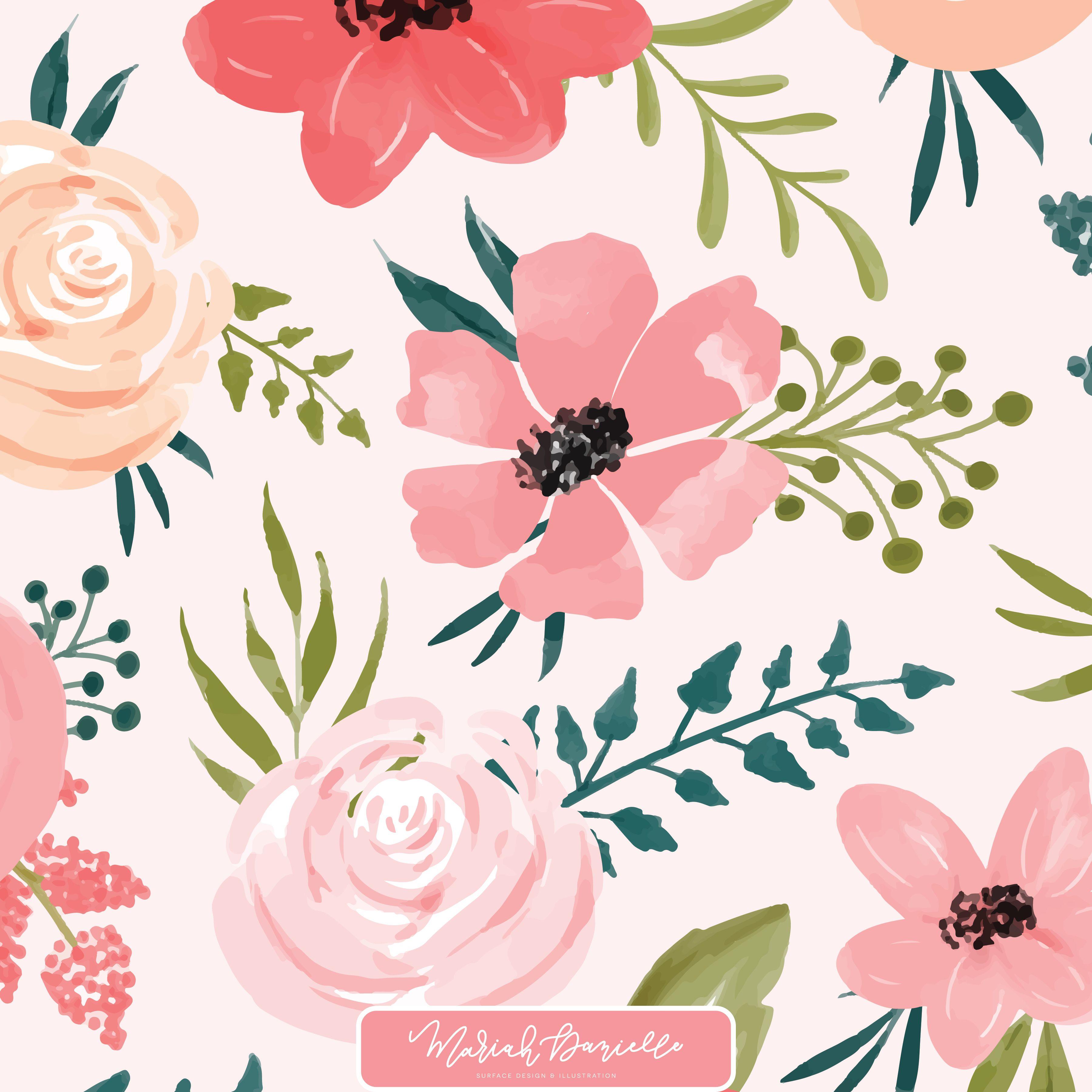 Watermelon & Poppy Floral Graphic Set.
