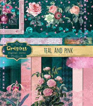 Teal and Pink digital scrapbooking kit, vintage flowers clipart clip art  paper.