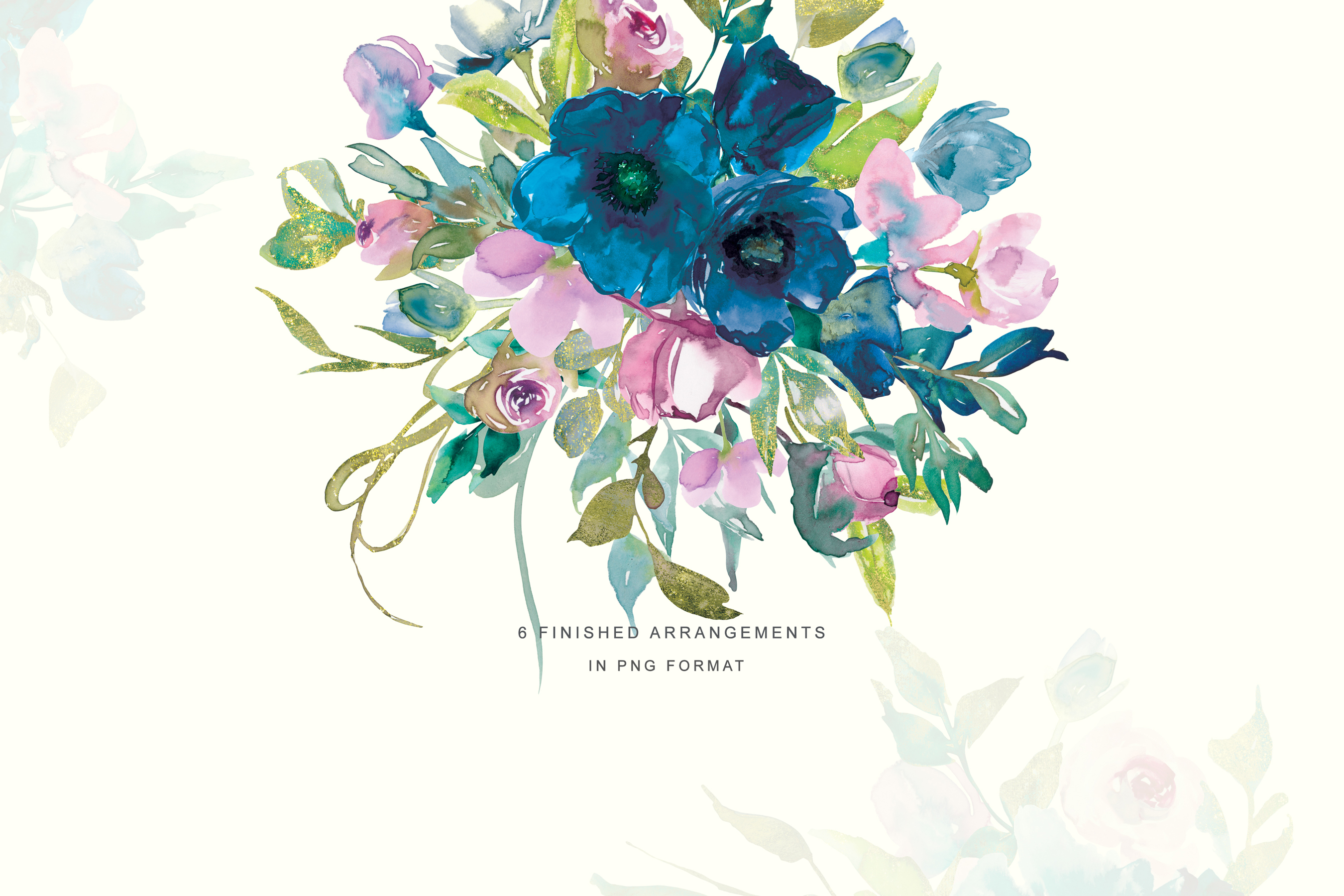 Watercolor Teal & Pink Flowers Clipart Set.