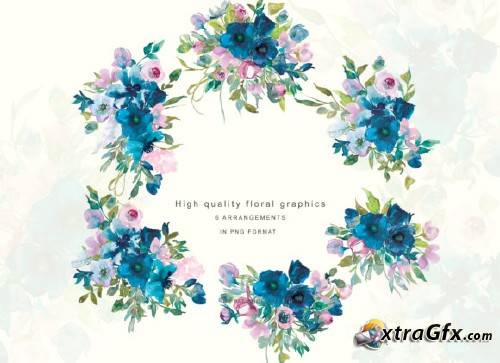 Watercolor Teal & Pink Flowers Clipart » xtraGFX Creating.