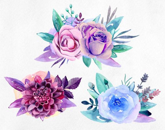 Purple flowers clip art Blue watercolor bouquets clipart.