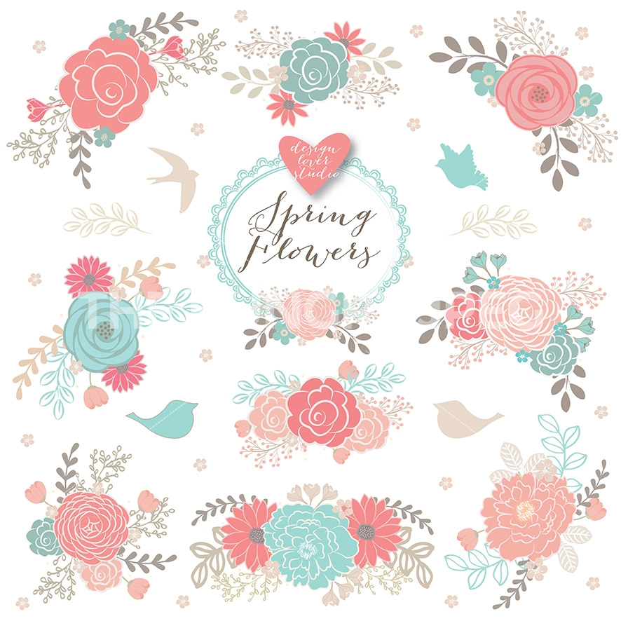 9855 Floral free clipart.