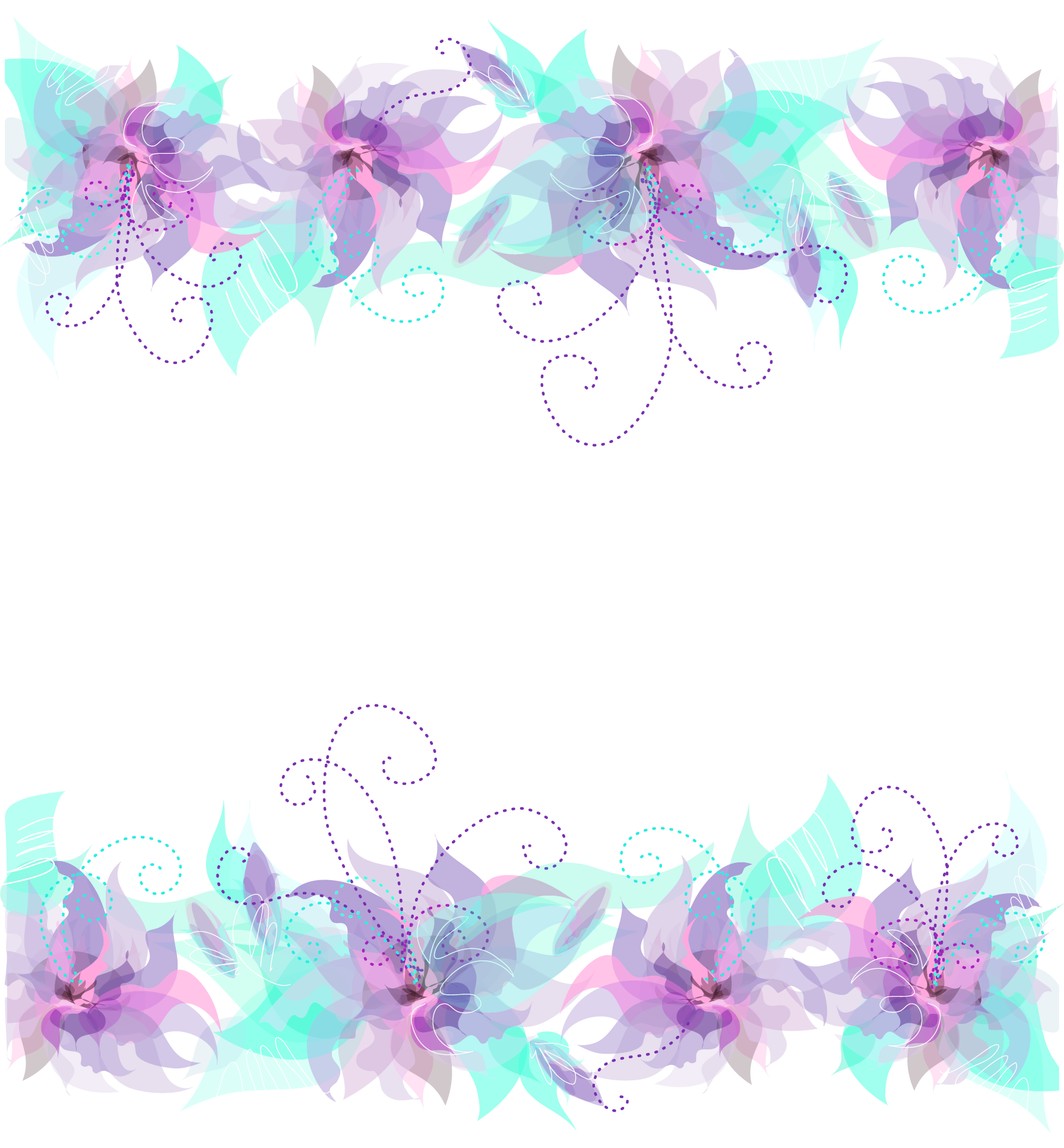 Floral Pink Purple and Blue Decoration PNG Transparent.