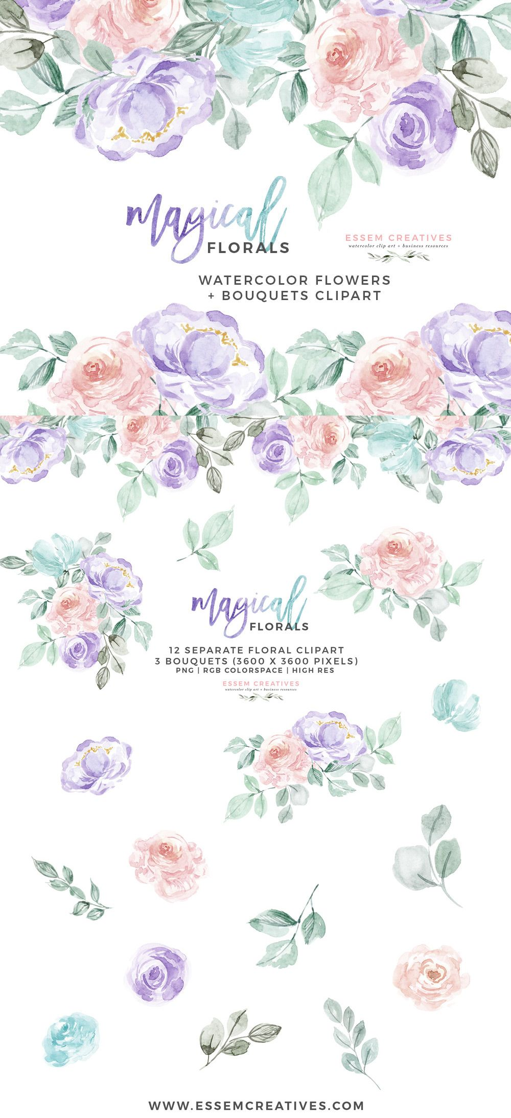 Watercolor Flowers Clipart PNG with transparent background.
