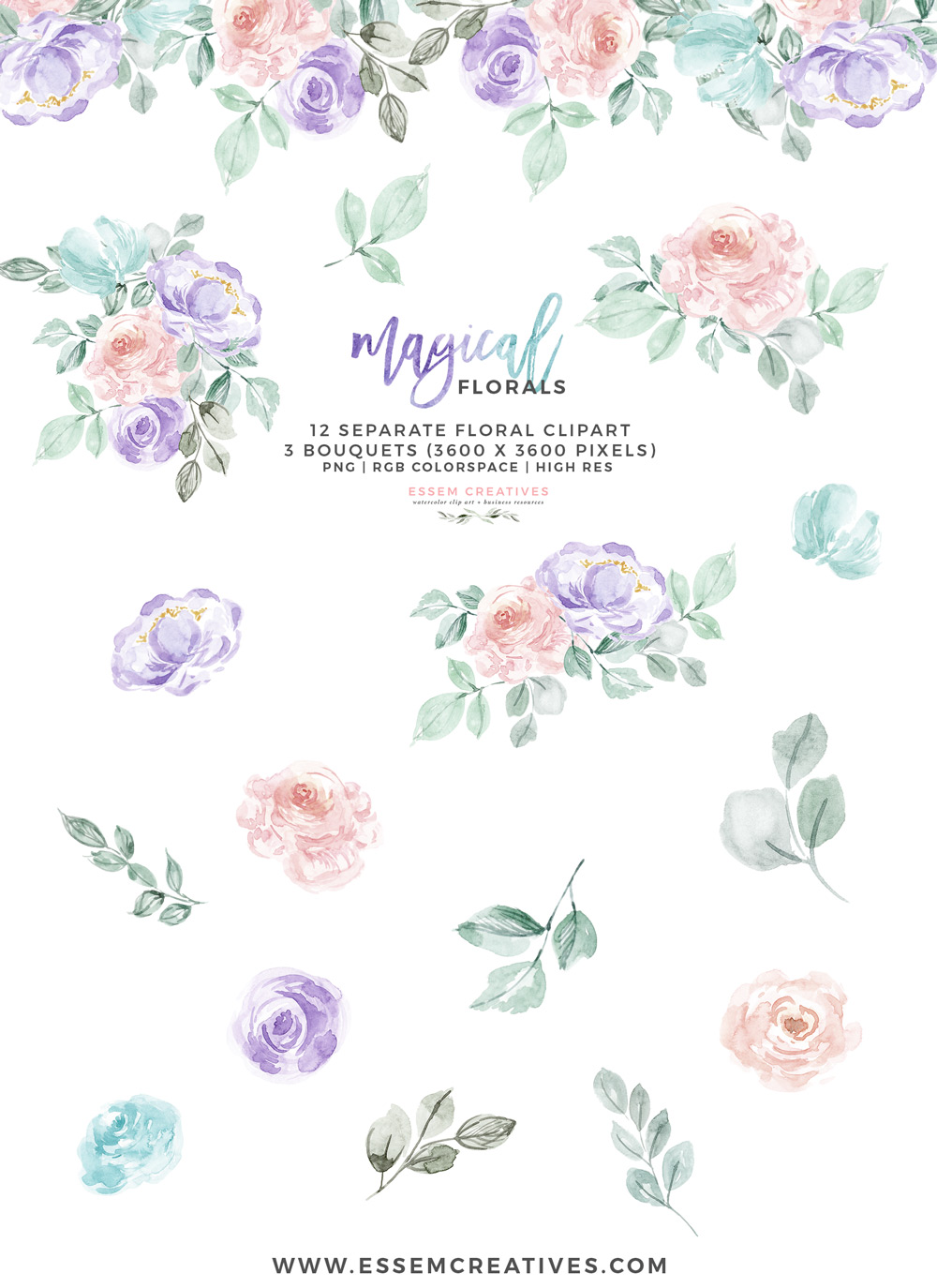 Watercolor Flowers Clipart PNG with transparent background, Purple Pink  Pastel Floral Graphics.