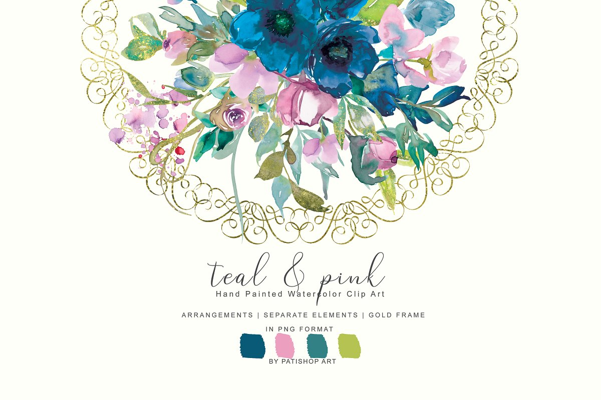 Watercolor Teal &Pink Floral Set ~ Illustrations ~ Creative.