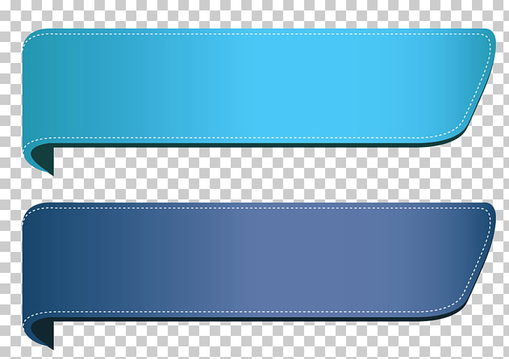 Blue Transparent Banners Set , two teal and gray straps PNG.