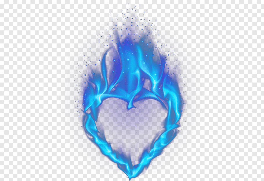 Blue flaming heart illustration, Light Heart Flame, Blue.