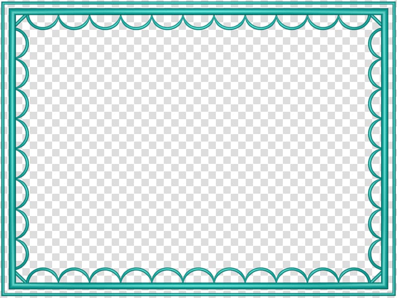 Microsoft PowerPoint , Teal Border Frame transparent.