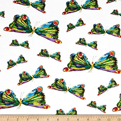 Andover Hungry Caterpillar Dots Butterflies Fabric by The Yard,  Gold/Red/Black.