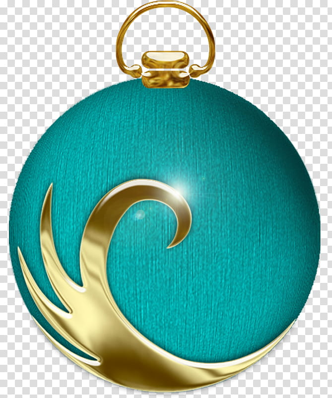 Christmas balls, teal and brown bauble transparent.