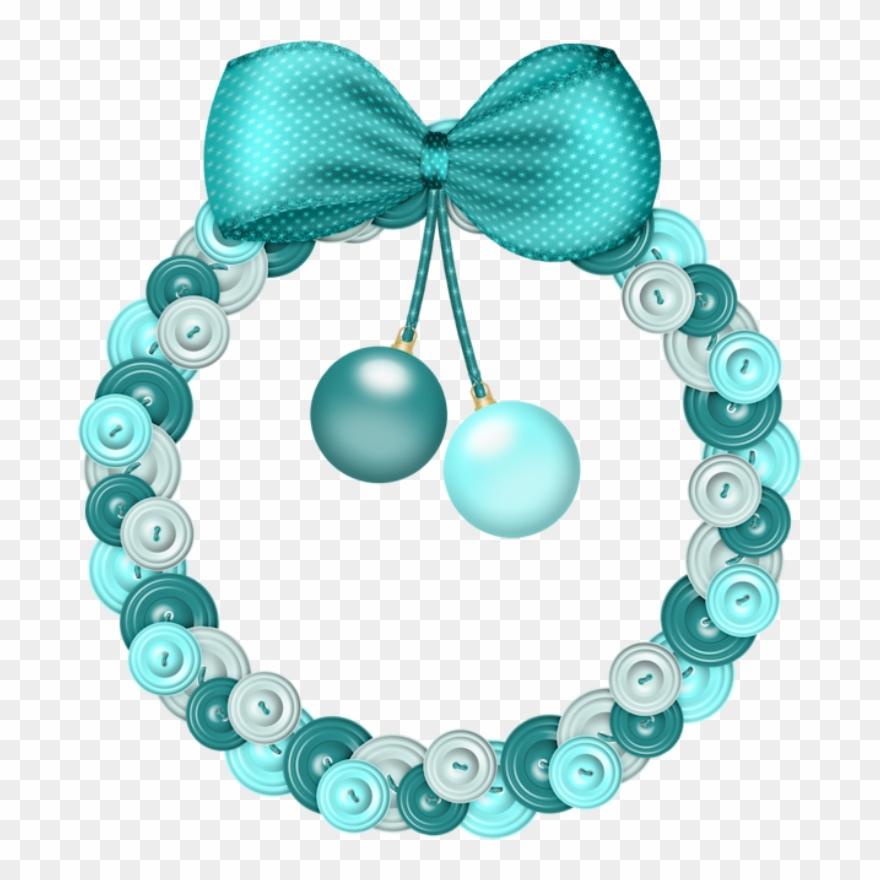 Christmas Blue Wreath Clip Art.