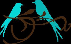 Love Birds Teal Clip art.