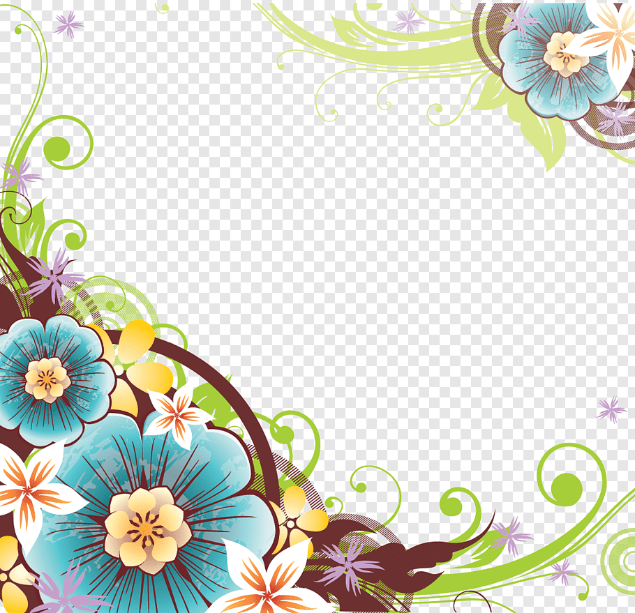 Teal and pink floral border, Flower, Flowers Borders File.