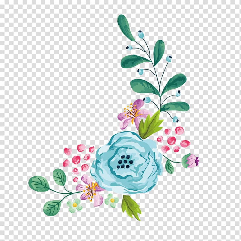 Flower Euclidean , cartoon watercolor hand painted floral.