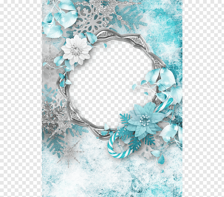 Teal petaled flowers, Christmas Paper frame, Flower.