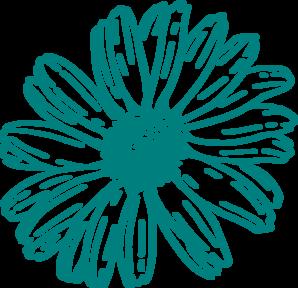 Teal Flower Clipart.