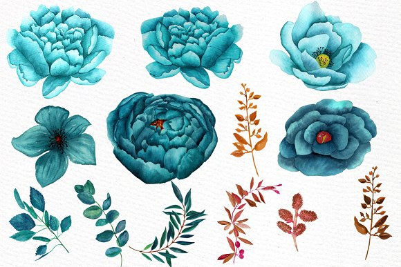 Watercolor teal flowers clipart.