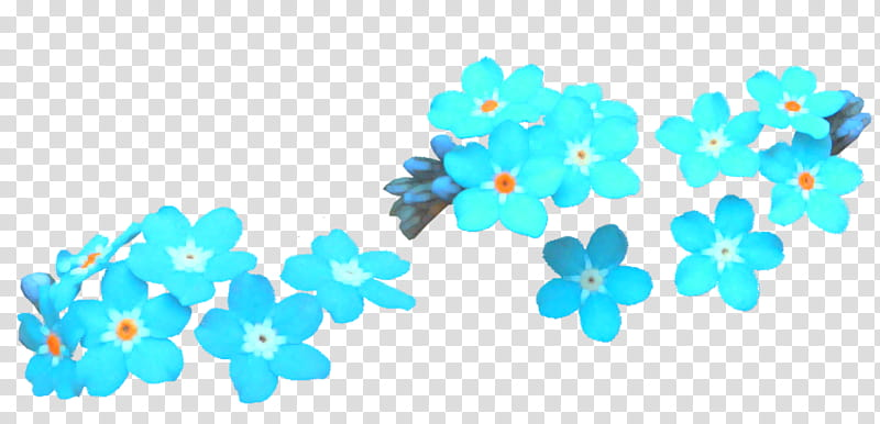 RNDOM, teal flowers transparent background PNG clipart.