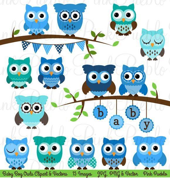 Boy Baby Shower Owl Clipart & Vector #babyshower.